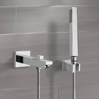 Chrome Wall Mounted Tub Spout Kit with Hand Shower Remer TDH01